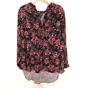 Red Floral long sleeve blouse with front pockets